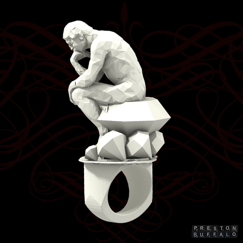 Thinker w/ diamonds 3D Print 63940