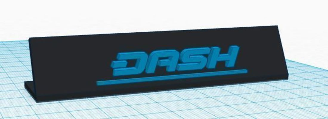 3D Printed Dash Cryptocurrency Desk sign! (Dash Coin) by