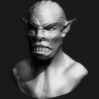 Small Orc Head 3D Printing 65552