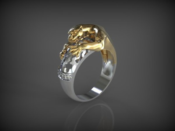 Medium Ring-Panthera-2parts 3D Printing 65635