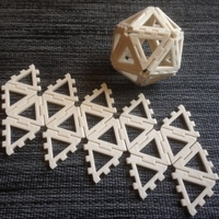 Small Customizable hinge/snap Icosahedron net 3D Printing 65855