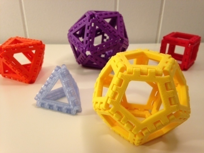 Polyhedra - Hinged Nets and Snap Tiles 3D Print 66017