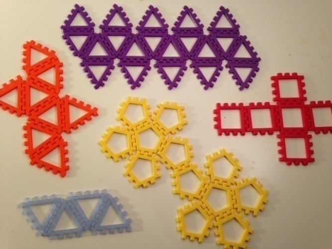 Polyhedra - Hinged Nets and Snap Tiles 3D Print 66018