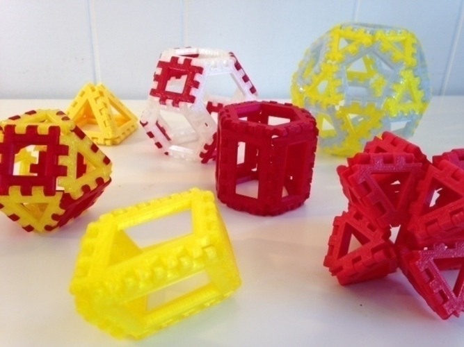 Polyhedra - Hinged Nets and Snap Tiles 3D Print 66019