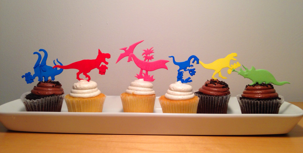 DINOSAUR-CAKE TOPPERS SET OF SIX 3D Print 6637