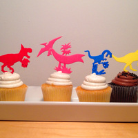 Small DINOSAUR-CAKE TOPPERS SET OF SIX 3D Printing 6637