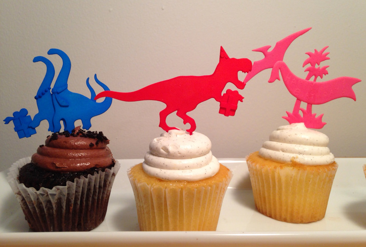 DINOSAUR-CAKE TOPPERS SET OF SIX 3D Print 6638
