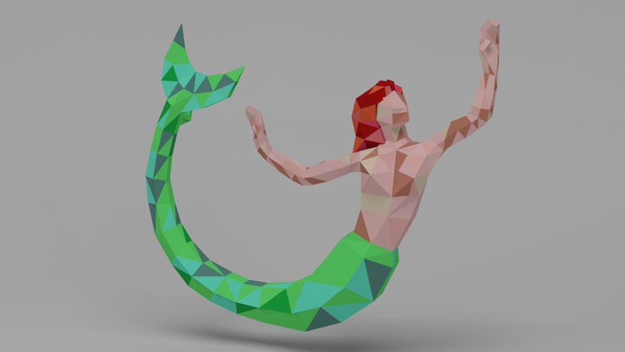 Low Poly Mermaid Pendant 3D Print 6652