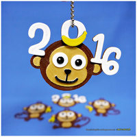 Small 2016 HAPPY CHINESE NEW YEAR-YEAR OF The MONKEY  Keychain / Magne 3D Printing 66728