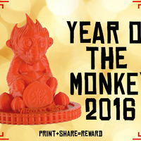 Small Red Monkey - Chinese New Year 2016 3D Printing 66872