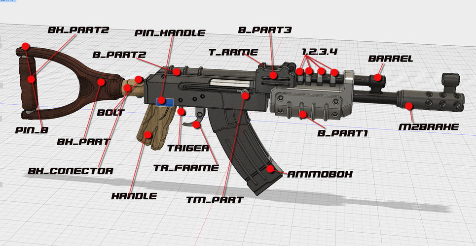 AK47 from Rust 3D Print 66964