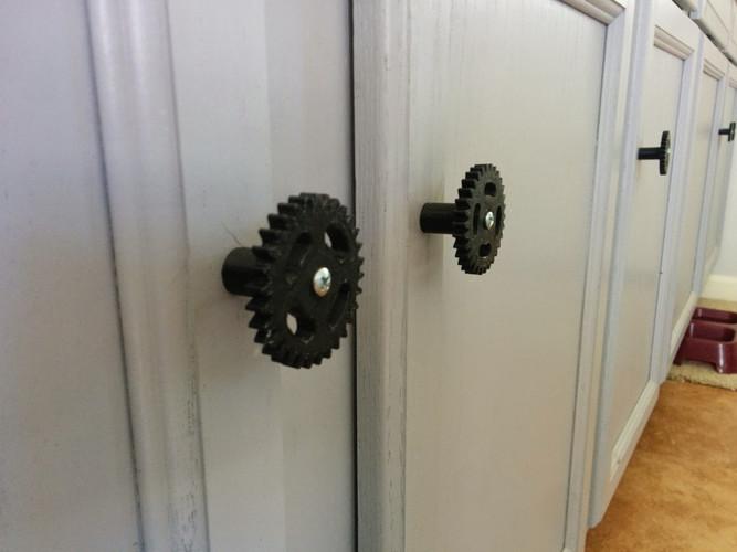 3d Printed Industrial Gear Cabinet Knob, Steampunk Cabinet Hardware
