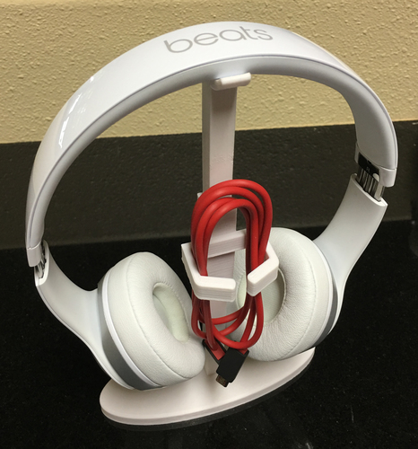 3D Printed Beats Or Other Headset Stand W/ Cord Holder. By