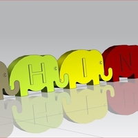 Small Linking Elephant Letters 3D Printing 69000