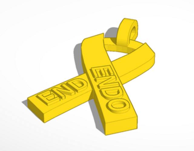 End Endometriosis Awareness Ribbon 3D Print 69045