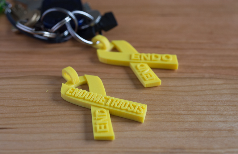 End Endometriosis Awareness Ribbon 3D Print 69046