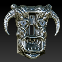 Small Demon Head Switch Plate 3D Printing 701