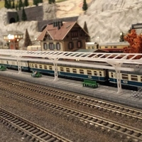 Small n-scale train station overhead 3D Printing 70993