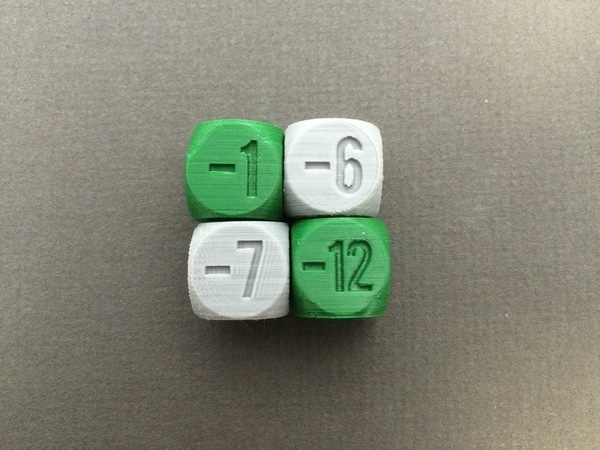 Medium Negative Integer Dice 3D Printing 71326