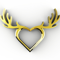 Small Deer Heart Necklace 3D Printing 71977