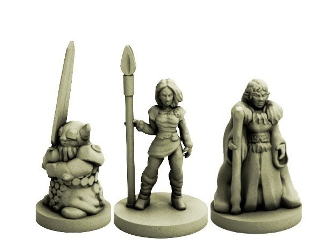 Fantasy Adventuring Party (18mm scale) 3D Print 72229
