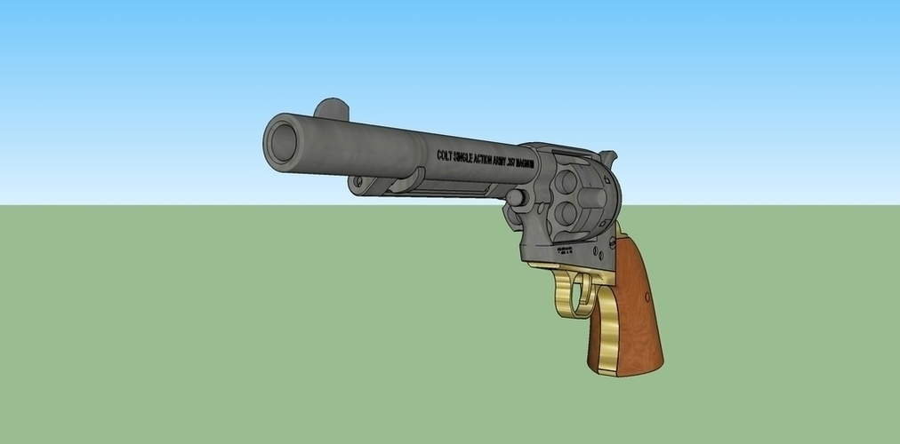 3d printed colt single action army revolver 1873 by ronagoldberg