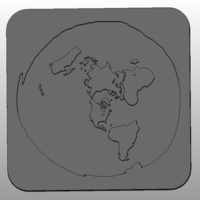 Small Flat Earth Map 3D Printing 74485