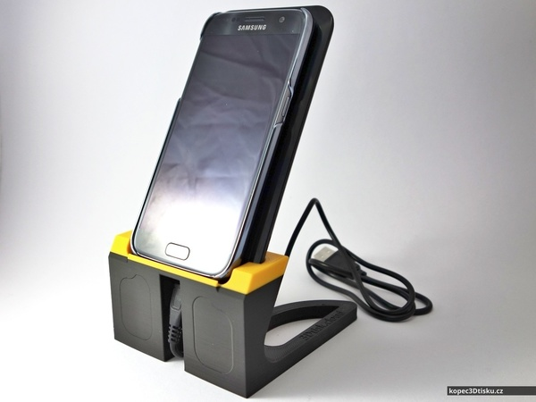 Medium Tom's Samsung Galaxy S7 + Qi charger stand 3D Printing 75103