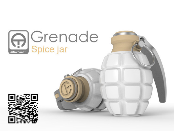 Medium Grenade spice jar 3D Printing 76496