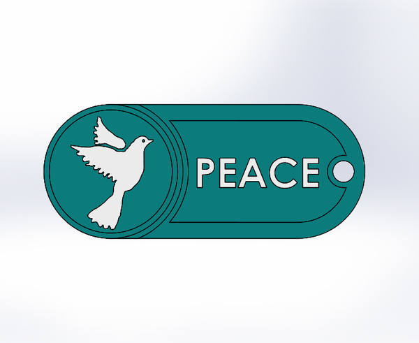Medium Key Chain-Peace-2 3D Printing 76652
