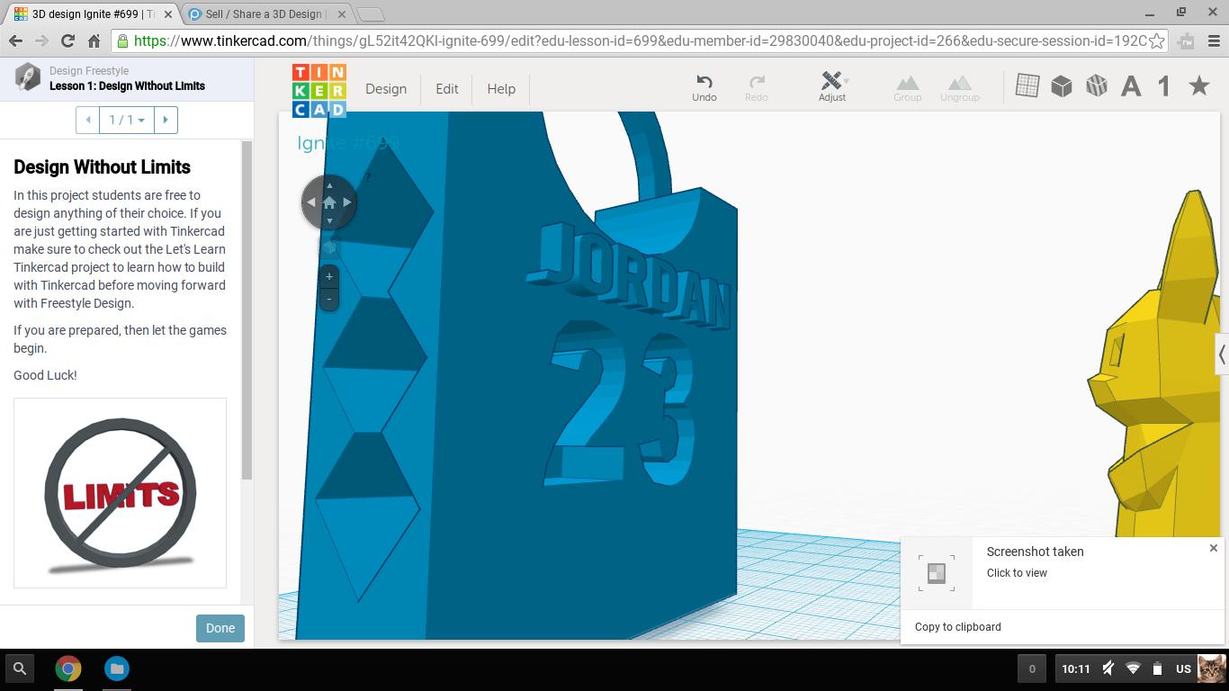 3D Printed Michael Jordan 23 North Carolina jersey key chain by