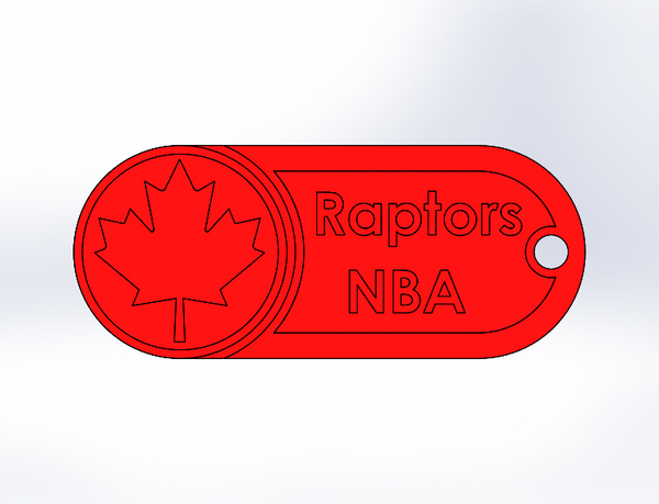 Medium Key Chain-NBA Raptors 3D Printing 76999