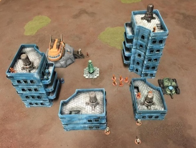 3D Printed Modular Scifi Habs (15mm scale) by Dutchmogul