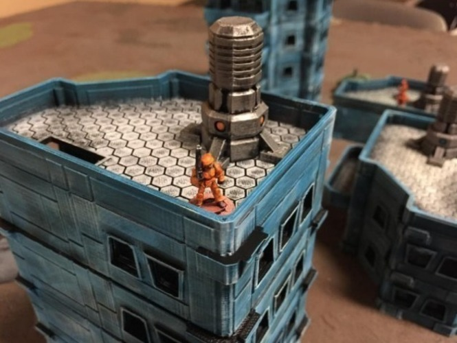 Modular Scifi Habs (15mm scale) 3D Print 77896