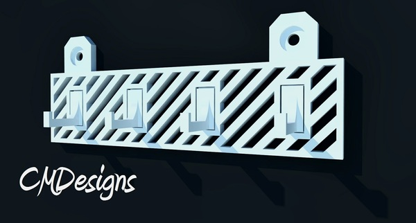 Medium CMDesigns - Modern Key Rack 3D Printing 78031