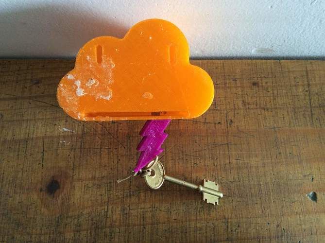 Cloud and Thunder magnet key holder 3D Print 78130