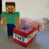 Small Minecraft - Steve, TNT and Pig 3D Printing 79798