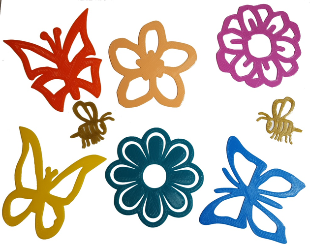 3d Printed Spring Flowers Butterflies And Bees Decals By