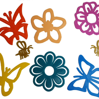 Small Spring Flowers, Butterflies and Bees  Decals 3D Printing 80051