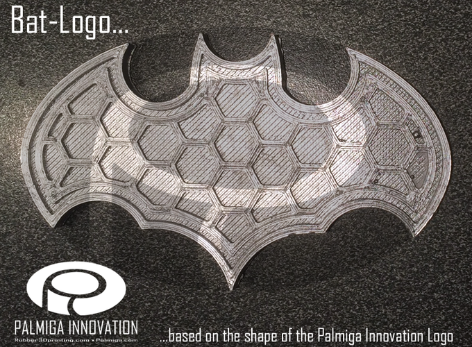 Palmiga Bat-logo Barrette / Sew on Logo 3D Print 80353