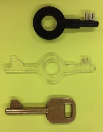 3D Printed Bonowi high-security handcuff key by 1111112