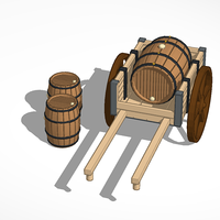 Small Wheelbarrow and wooden barrels 3D Printing 81616