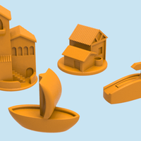 Small Catan pieces (Basic Set + Ship) 3D Printing 82064