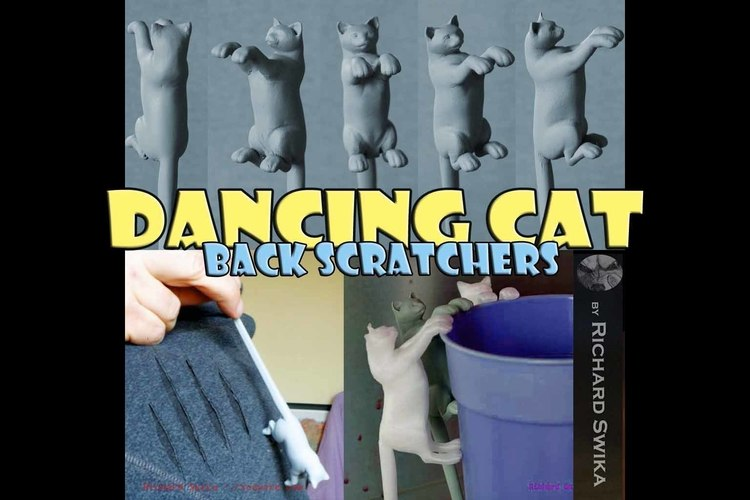 Dancing Cat Back Scratcher, Puppet and Toy 3D Print 82178