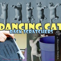 Small Dancing Cat Back Scratcher, Puppet and Toy 3D Printing 82178