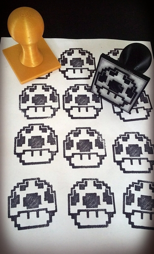 Geeky 8bit character Rubber Stamps 3D Print 82362