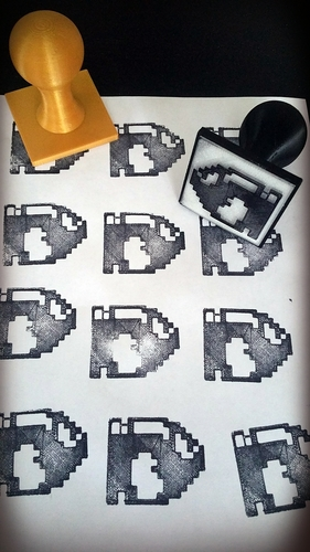 Geeky 8bit character Rubber Stamps 3D Print 82363