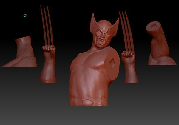 Medium Wolverine Bust and Stand 3D Printing 82977