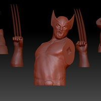 Small Wolverine Bust and Stand 3D Printing 82977