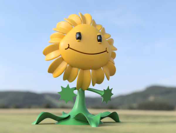 Medium Sunflower - Plants Vs Zombies GW2 3D Printing 83790